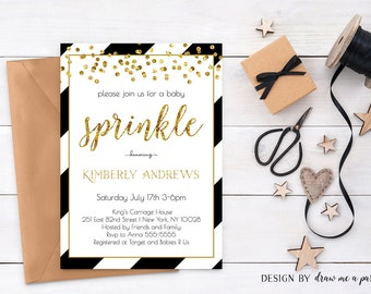 black and gold baby shower invitations etsy
