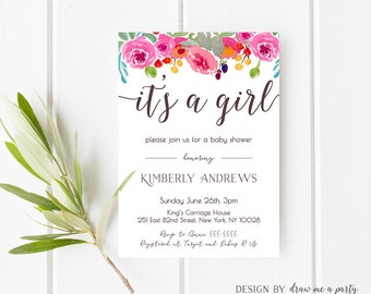 FLORAL BABY SHOWER Invitation , Its a Girl Baby Shower Invitation , Girl Baby Shower Invitation , Spring Baby Shower , Printable