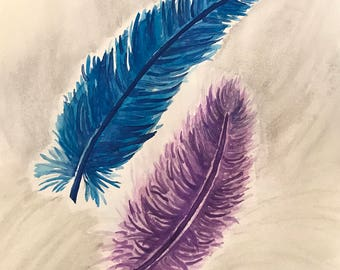 Watercolor feathers. Ready to ship.