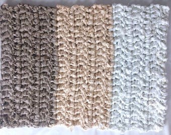 Rectangle Cotton Rag Rug FREE Shipping Crocheted Tan Gray Beige White Ombre  Color Block Rustic Log