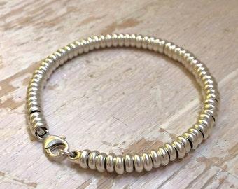 Links Bracelet - Men's chunky sterling silver & leather bracelet