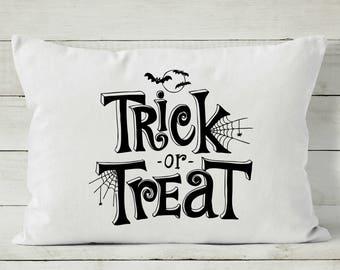 Halloween Pillow - Trick or Treat - Halloween Decor - Decorative Throw Pillow Cover