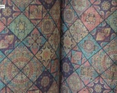 MOROCCAN TILES PRINT cork fabric - best available - Made in Portugal - Choose Size, textile quality, appropriate for all applications
