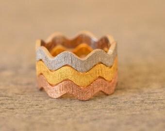 Stackable Zig Zag Ring,925 Sterling Silver,Stackable Wave Ring,Zig Zag,Wave Ring,Modern Design Stacking ,Handmade Zig Zag,Set of three