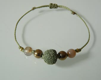 Bracelet beads 'Balance', lava stone, Pyrite, Agate, Lithotherapy, aromatherapy, Meditation and essential oil diffuser