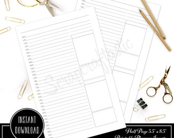 Planner Printable Insert Refill Undated DO1P Hourly/Half Hour Half Page (A5) Size