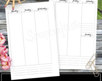 WO2P Column Half Page Printable Planner Insert Refill Undated fits A5 Binder - Recollections, Filofax, Kikki K (00314)