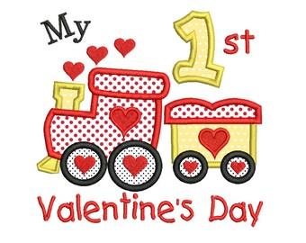 My 1st Valentine's Day Applique Machine Embroidery Design, My First Valentine's, Instant Download, Love Train Embroidery Design no: SA546-14