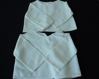 Two French vintage white cotton babies blouse / vest / undergarment  (03994)