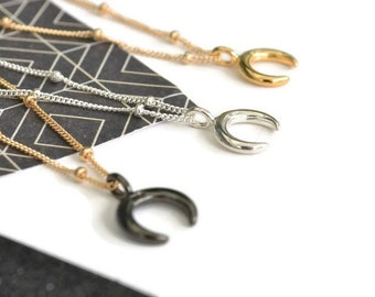 Small Crescent Moon Necklace | Double Tusk Pendant | Horn Jewellery