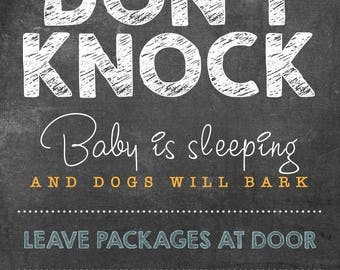 "Don't Knock Sign, Baby Sleeping INSTANT DOWNLOAD 8.7 x 11.5"", (Text only, for house)"