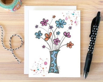 Flower Bouquet. Just Because Card. Daisy Greeting. Birthday Card. Watercolor Flower Card. Bestie Gift. Card for Girlfriend. Gift for Her.