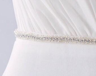 Thin Bridal Sash Belt, Rhinestone Bridal Belt, Wedding Sash Belt, Wedding Dress Belt, Swarovski Crystal Sash Belt