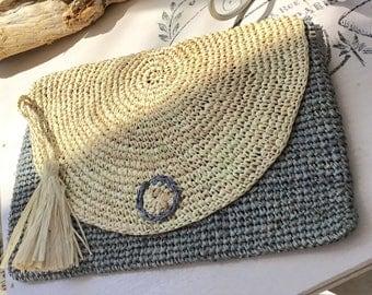 Straw clutch bag, grey clutch, hobo, market bag, straw bag, boho bag, crochet bag, vintage bag, market bag, crochet bag, rattan bag, gift