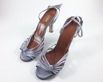 Vintage Lavender Shoes Women's Lavender Heels Light Purple Pumps Strappy Sandals Ankle Strap Size 6