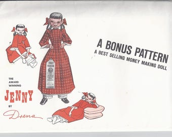 Jenny Doll Pattern by Drena from 1961:  Pattern for soft doll and clothes.  UNCUT