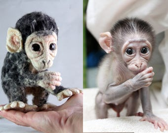 Custom Portrait Baby Macaque Needle Felted Monkey Miniature Little Copy  Doll Animal Decorating Personalized pet  Fiber Art