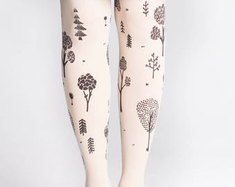 PARK Hand printed tights Vanilla