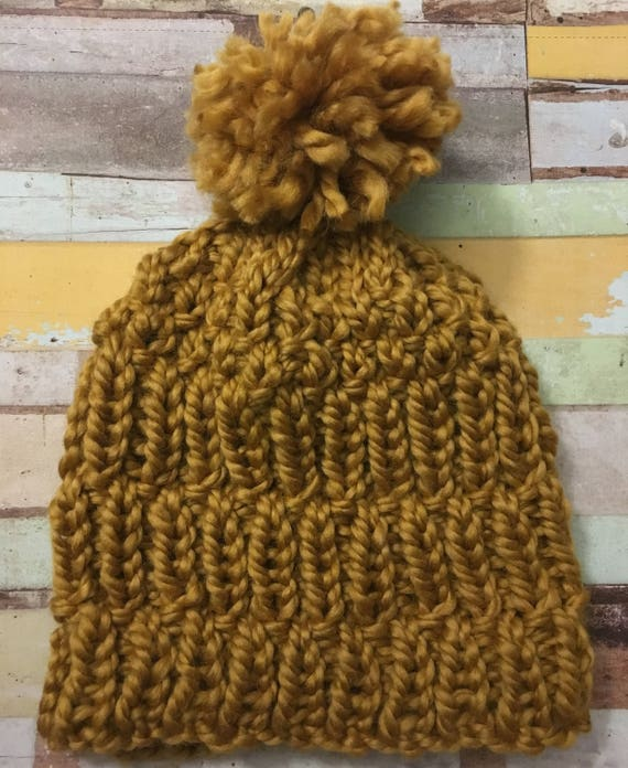 Chunky texture beanie, optional pom pom, womens hat, chunky beanie, mustard hat, yellow beanie, womens beanie, pom pom