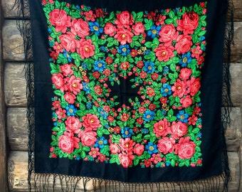 Big Ethnic black Vintage ukrainian russian shawl fringed babushka scarf floral With Tassels wool folk style USSR Ukraine chale russe