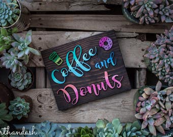 Laser Cut Coffee and Donuts Wood Sign