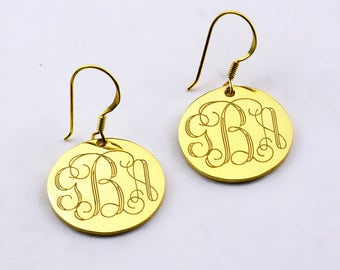 Gold Monogram Earrings,Monogrammed Earrings,Custom Initials Earrings,Personalized Engraved Earrings,Initials Earrings,Monogram Jewelry