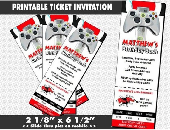 Xbox Video Game Ticket Invitation Birthday By