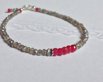 Natural Mystic Labradorite and Ruby Bracelet . Sterling Silver . Faceted Rondelle