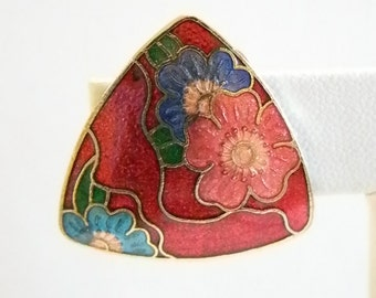 Multi Colored Floral Cloisonne Triangle Clip Earrings