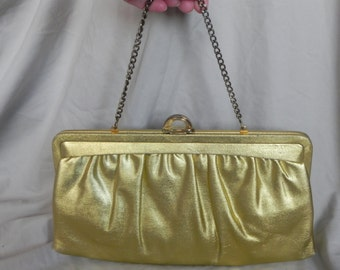 1950's or 1960's Gold Lame' Evening Bag Clutch Purse Handbag with Accessories by Mardane