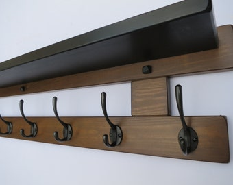 8 Hook hat and coat rack with shelf