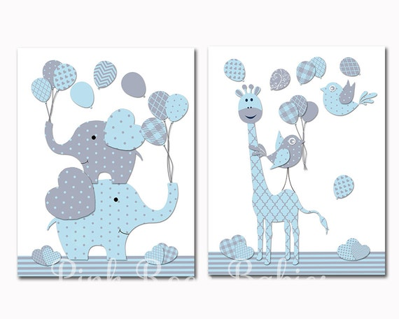 Baby boy nursery decoration nursery blue elephant giraffe wall - Dessin chambre bebe garcon ...