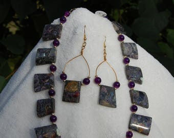 Purple Stone Statement Necklace and Earrings