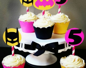 Batgirl Cupcake Toppers & Wrappers, Batgirl Cupcake Toppers, Batgirl Birthday (set of 24)