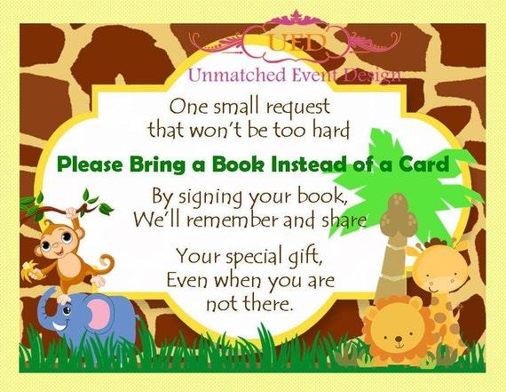 jungle baby shower bring a book card jungle bring a book card jungle