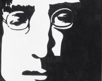 John Lennon sharpie drawing