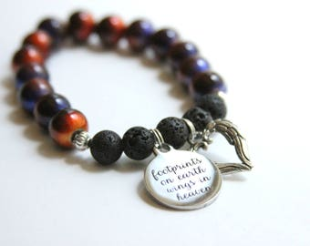 Custom Handmade Diffuser Bracelet with Lava Stones and 2 Charms - Auburn/Gold Glass Beads - Memorial Jewelry/Diffuser Jewelry