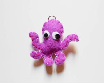 Octopus felt ornament or key chain. Stuffed animal octopus toy