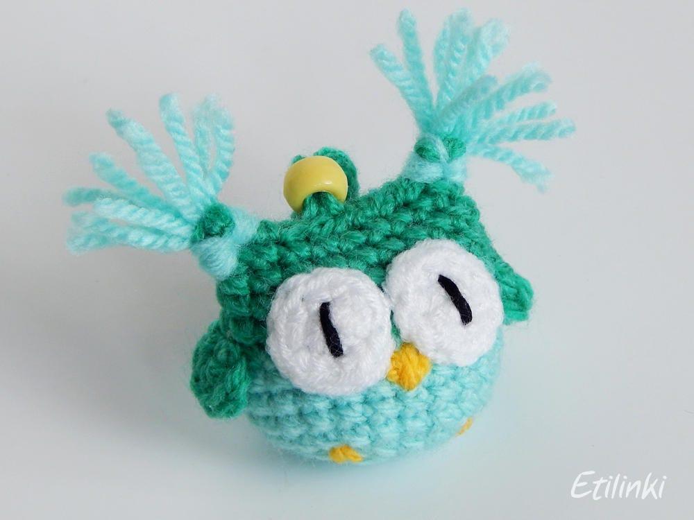 green mint owl crochet keychain owl accessories amigurumi. Black Bedroom Furniture Sets. Home Design Ideas