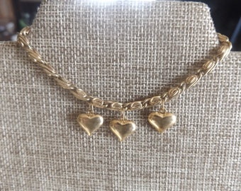 Puffy Heart Bracelet Gold tone