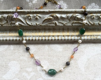 Multi-Gem Ancient Roman, Byzantine Beaded Chain Gemstone Link Necklace