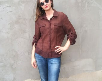Plus Size Vintage 90s Women sheer Chocolate Brown Shirt Long sleeve Blouse /  Semi sheer Button up Shirt Blouse 1990s Clothing Grunge L XL