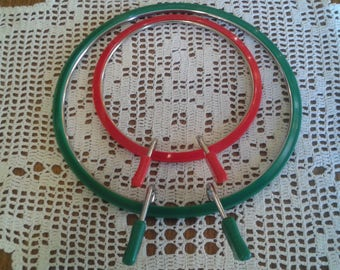 Set of Two Embroidery Cross Stitch Needlepoint Hoops