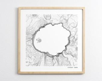 Crater Lake National Park Oregon Topographic Map - Art Print