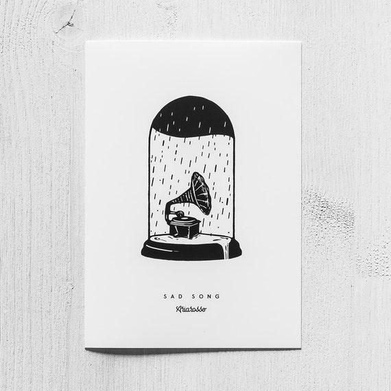Poster Art Print - Sad Song Blackwork Series A5 Size - Gramophone Rain...