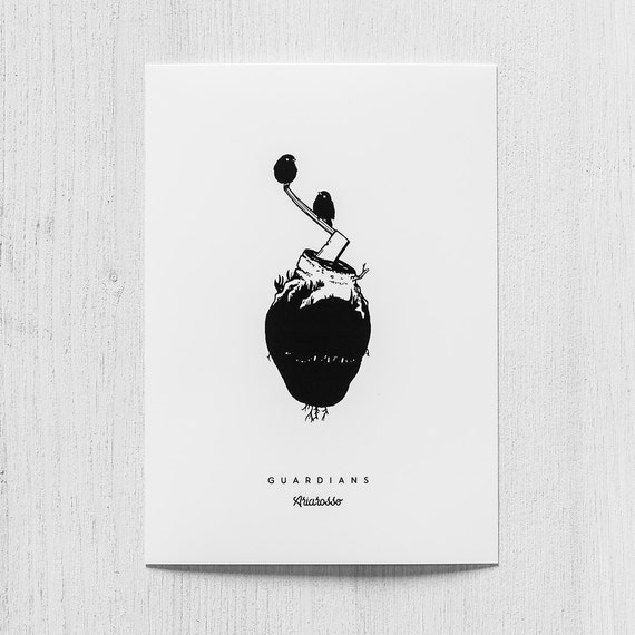 Poster Art Print - Guardians Blackwork Series A5 Size - Birds Heart Tr...