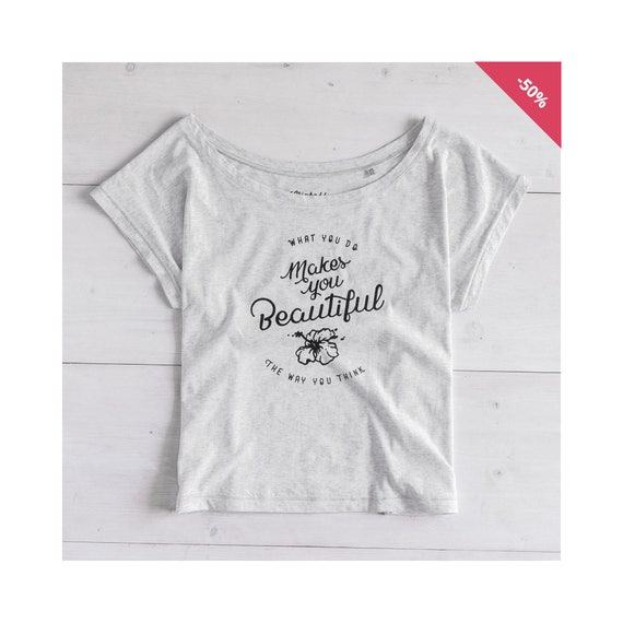 Woman Graphic Tee Oversize Heather Ash Organic Cotton - Printed T-shir...