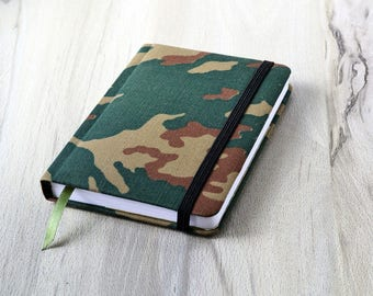 Green notebook a6 Gift for men Blank journal Military gift Mens journal blank Gift for soldier Camouflage Blank pages book handmade