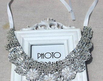 Vintage clothing  Pearl Beaded Lace Collar Necklace  #1