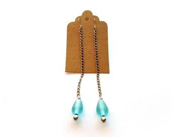 Silver Chain Drop Earrings with a Teardrop Aqua Glass Bead Handmade